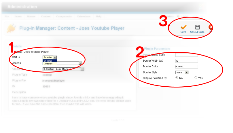 Joes Youtube Player - Configure and Save
