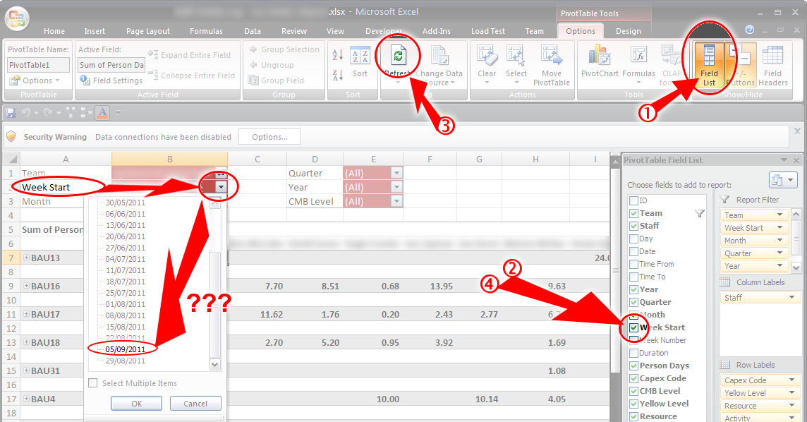 Excel: Ordering my pivottable dropdown filter list