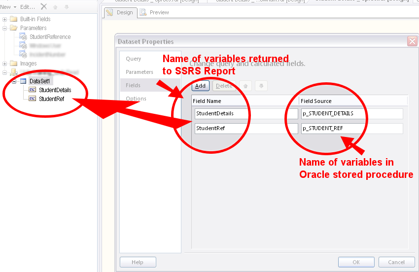 Adding a dataset for an Oracle stored procedure